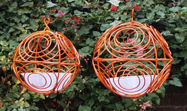 Burnt Orange bird feeder for small birds